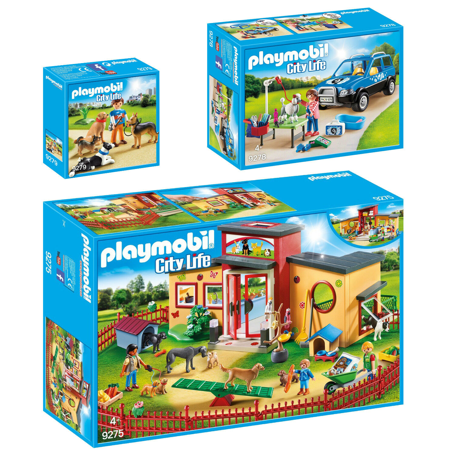 PLAYMOBIL® City Life 3er Set 9275 9278 9279 Tierhotel Hundesalon & -trainer