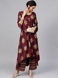 Indian Kurta with Palazzo Kurti Dress Set Women Ethnic Top Tunic Bottom Pant New