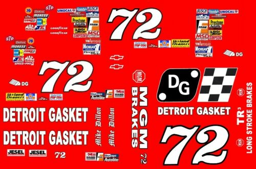 #72 Matt Dillion Detroit Gasket 1998 All Red 1//64th HO Scale Slot Car Decals