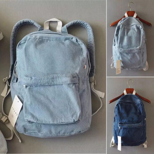 New Vintage Denim Backpack Jean Rucksack School Bookbag Casual Travel Bag Unisex