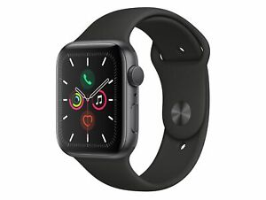 Apple Watch Series 5, 44 mm, Aluminiumgehäuse spacegrau, Sportarmband schwarz