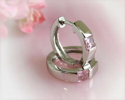 Creolen Silber 925 Creolen Zirkonia rosa echt Sterlingsilber Ohrringe Damen sc79