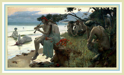 PRINT ART NOUVEAU ART DECO  MAXFIELD PARRISH C.K. VAN NORTWICK-ERA  NYMPHS SATYR