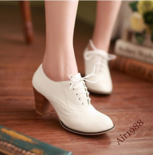 New Womens Cuban Heels Lace Up Casual Pumps Pointy Toe Ladies Court Shoes Size