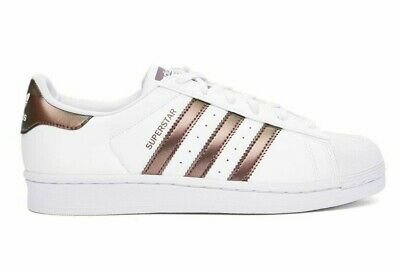 Adidas Superstar Womens Rose Gold Stripes White Shoes Adidas