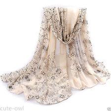 HA Fashion Women Long Soft Wrap Lady Shawl Chiffon Silk Scarf Scarves Beige