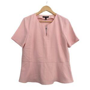 Banana Republic Womens Top Medium Pink Short Sleeve Vneck PEPLUM Blouse NWT M