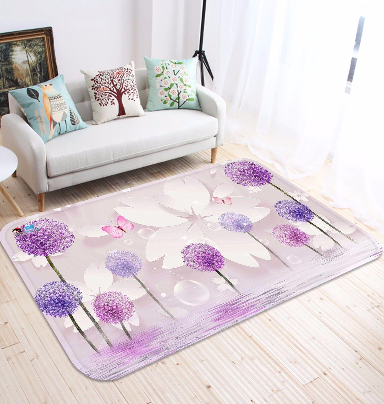 3D viola Petals 51 Non Slip Rug Mat Room Mat Quality Elegant Photo Carpet US