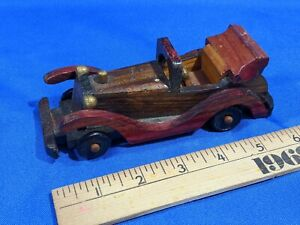 Mini-Wooden-Model-Toy-Car-Antique-Auto-Car-Convertible-VTG-6-034-Handmade