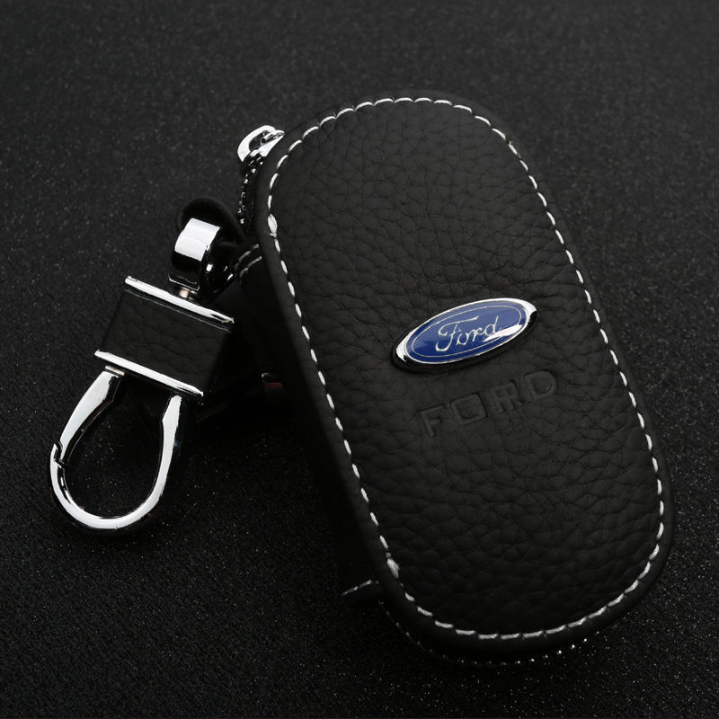 2019 Leather Car Logo Key Chain Case Remote Control Package Auto Keyfob Wallet
