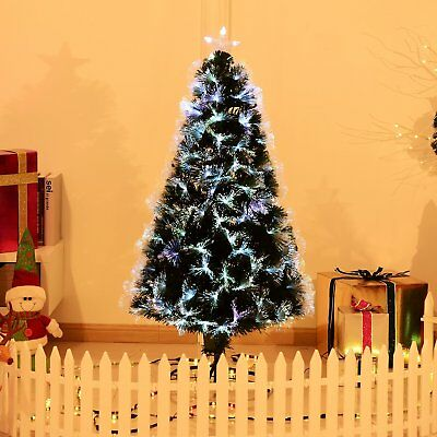 HOMCOM Árbol de Navidad 120cm Fibra Optica 7 Color Árbol Artificial + Estrella