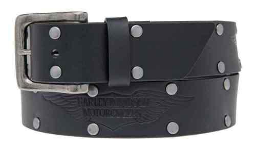 Harley-Davidson Mens Speed Bump Belt Studded Black Leather Belt HDMBT11033