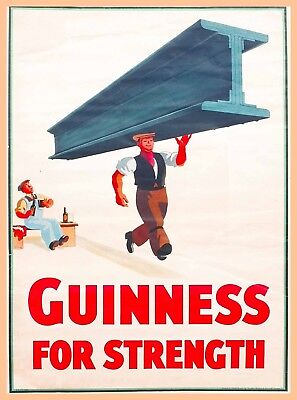 Guinness Beer for Strength Ireland Great Britain Vintage Travel Art Poster Print