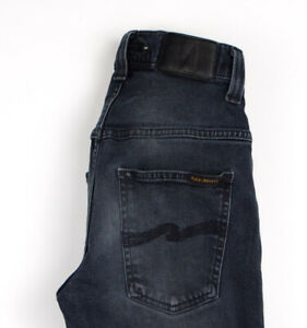 Nudie Jean Hommes Mince Finn Slim Jeans Extensible Taille W29 L32 AOZ1033