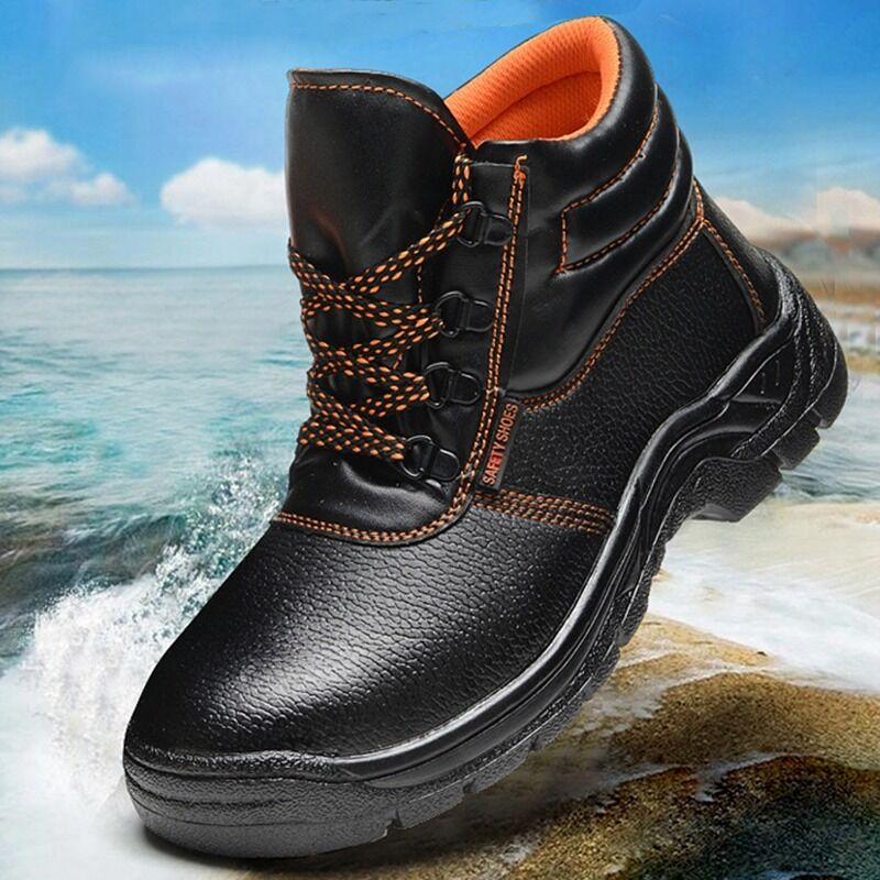 New Men Working Boots Safety Steel Toe Cap Shoes Wearproof Protect Work Shoes