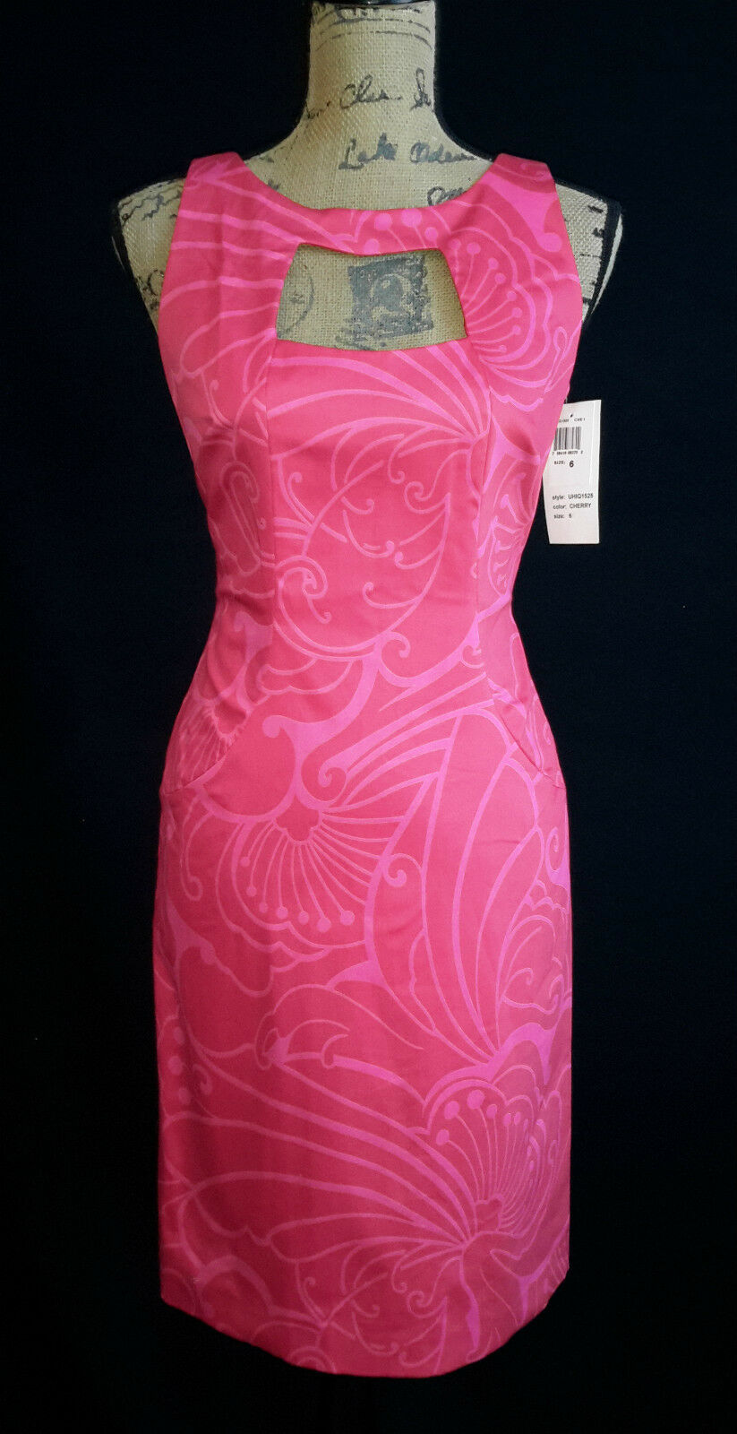 NEW David Meister Dress 6 Med cherry rot Rosa floral dot open back key hole NWT