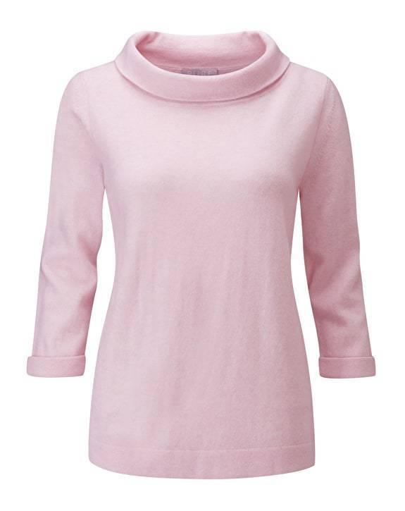Pure Collection Pullover Pullover Pullover di cashmere Bardot-rosa Nebbia-misure RRP 426f45