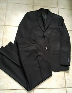 Cintas-Men-s-Suit-36R-Black-Pants-W30-I30-2-Button-Polyester-Double-Vent