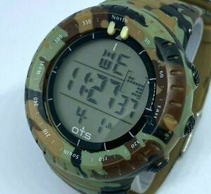 Unused O.T.S Men Military Army Green Digital Alarm Chrono Watch Hour~New Battery
