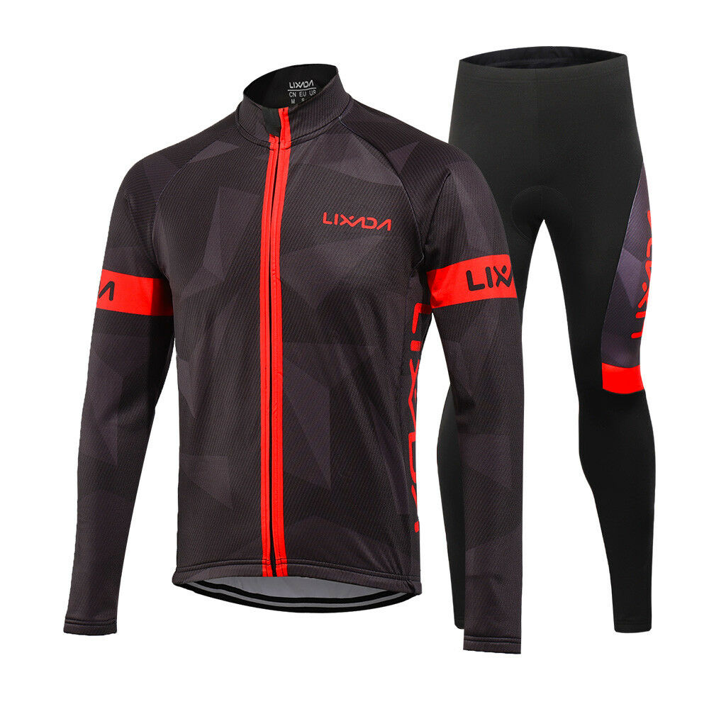 Lixada Men's Winter Thermal Fleece Cycling Clothing Set Long Sleeve C8E5