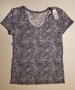 Ann-Taylor-Loft-Outlet-Navy-Stars-Print-Tee-T-Shirt-Size-XS-S-M-NWT-SHIPS-FAST