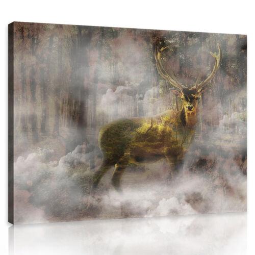 CANVAS Wandbild Leinwandbild Bild Nebel Hirsch Wald Tier Natur Baum 3FX10033O6
