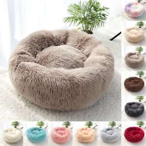 Donut-round-bed-dog-cat-plush-sleeping-soothing-comfy-carpet-basket