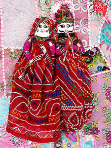 INDIAN-TRADITIONAL-PUPPETS-PAIR-DECORATIVE-HANGING-CHRISTMAS-GIFT-KATHPUTLI-KP12