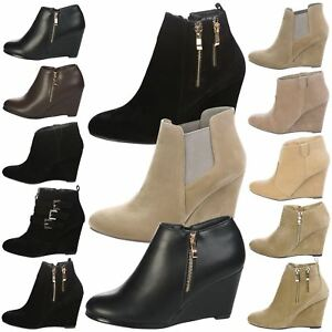 Image Is Loading Womens Ankle Boots Las Shoes Pumps Office Work