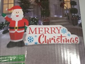"""Gemmy 67"""" Santa and Merry Christmas Sign Inflatable Lawn Decoration - GallyHo"""