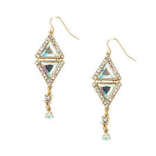 Katy Perry Gold Double Prism with Rhinestones Drop Earrings Prism Collection NWT