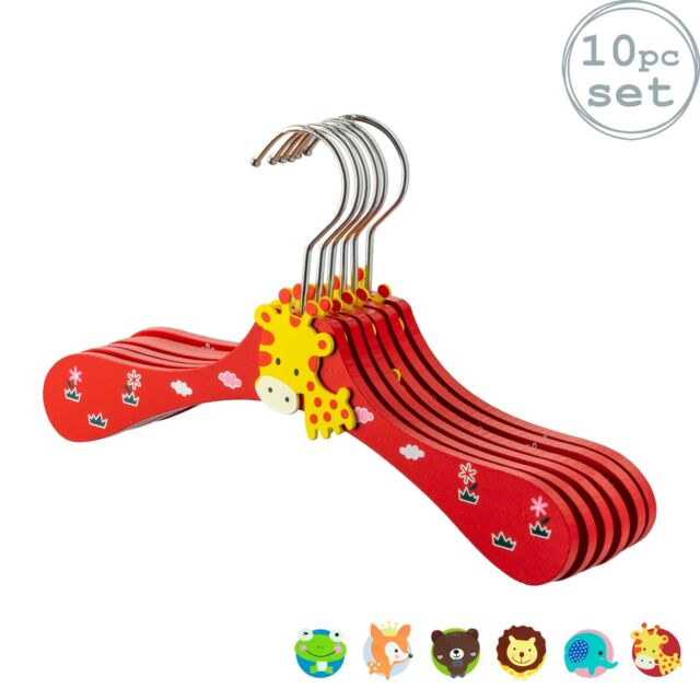 10 Baby Coat Hangers Wooden Childrens Kids Clothes Animal Hanger Giraffe Red