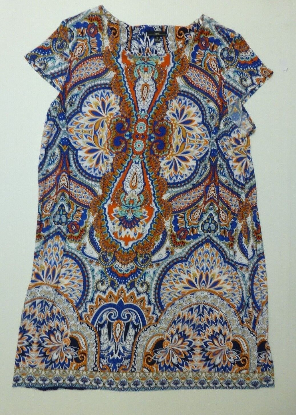 R&K Womens Size 3XL bluee & orange Long Dress New With Tags