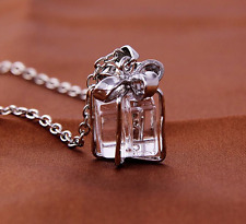 """Tiny present Natural Quartz Crystal gift box bow pendant on silver necklace 18"""""""
