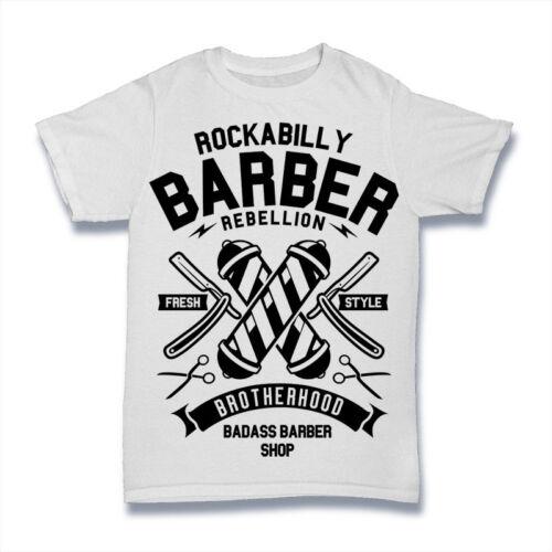 Rockabilly Barbero Camiseta rebelión Hermandad Badass Barbero Reino Unido para hombre S-3XL