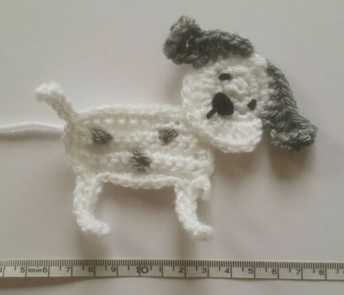 1 handmade crochet puppy dog applique//embellishment in many colours