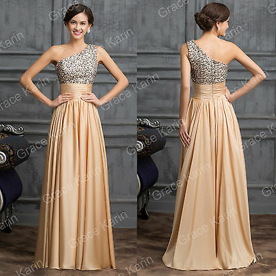 All Stock Beaded Long Bridesmaid Prom Cocktail Party Formal Evening Dress Gowns
