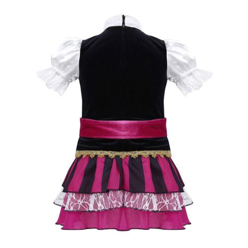 Kid Girl Pirate Fancy Dress Caribbean Capain Cosplay Halloween Book Week Costume