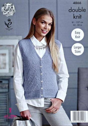 KNITTING PATTERN Ladies Easy Knit V-Neck Cardigan /& Waistcoat DK King Cole 4866