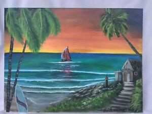 Original-Acrylic-Painting-9-x-12-Canvas-Seascape-Tropical-Coastal-Beach-Art