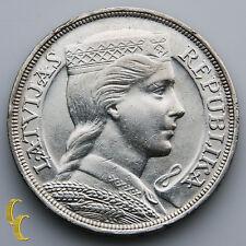 1932 Latvia 5 Lati Silver Coin, KM# 9