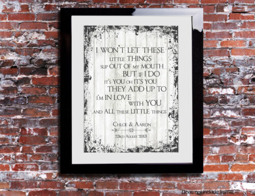 One Direction All The Little Things Lyrics Print Song Personalised Canvas