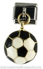 9mm Italian Charm Stainless Modular Dangle Link Soccer Ball Gold Sports