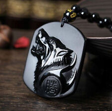 Chinese Natural Obsidian Hand Carved Wolf Head Lucky Pendant Beads Necklace