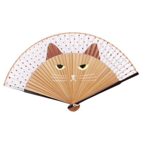 Japanese Cosplay Silk Bamboo Hand Held Cartoon Cat Folding Fan Party Gift G