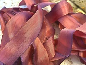 VINTAGE-RAYON-SILK-1-034-RIBBON-1920-039-s-Made-in-France-1yd-PURPLE-PINK-ROUGE