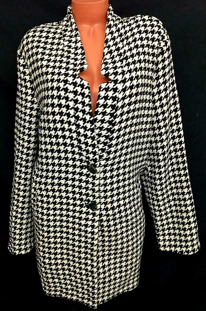 * Old Navy black white houndstooth long sleeves wool blend buttoned coat XXL