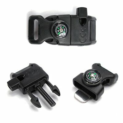 Side Buckle Whistle Compass Flint Fire Starter Scaper For Paracord Bracelet