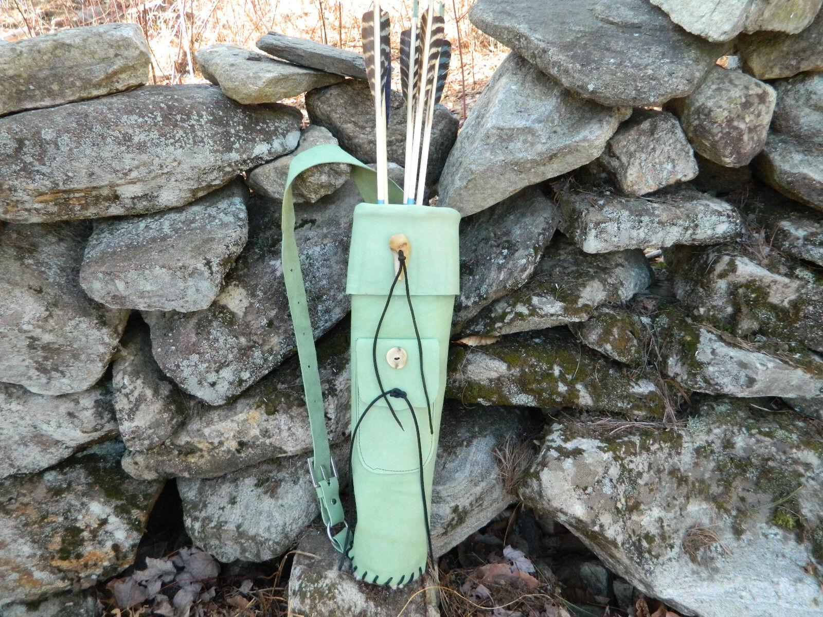 verde del cuero trasero ajustable Flecha Arqueria Carcaj Mano a Mano Laced en Estados Unidos