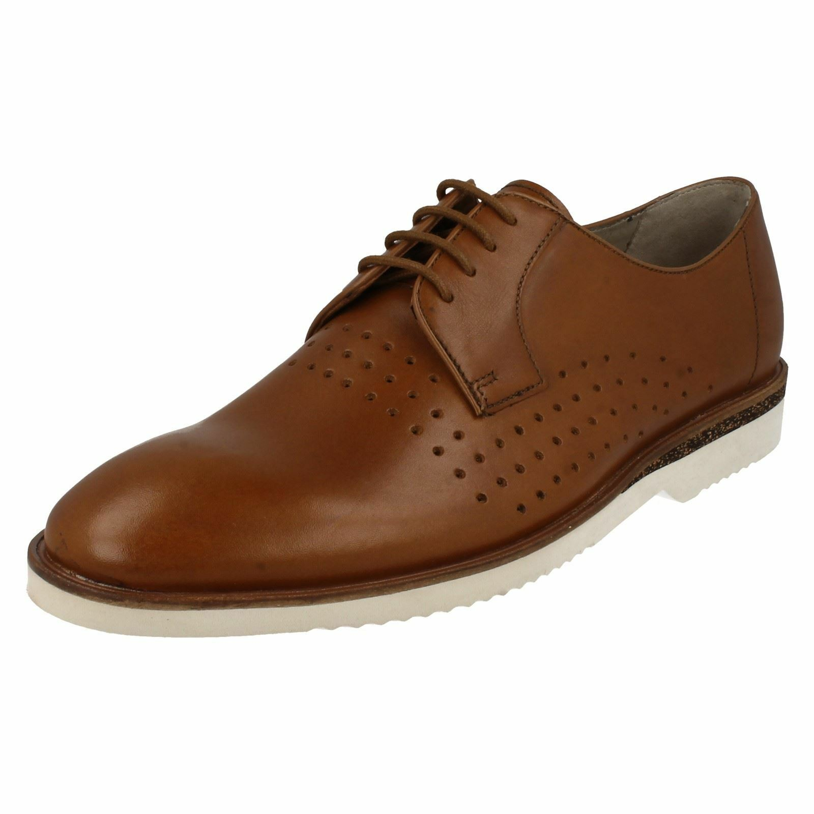 CLARKS Tulik Edge Mens Tan Leather Lace Up